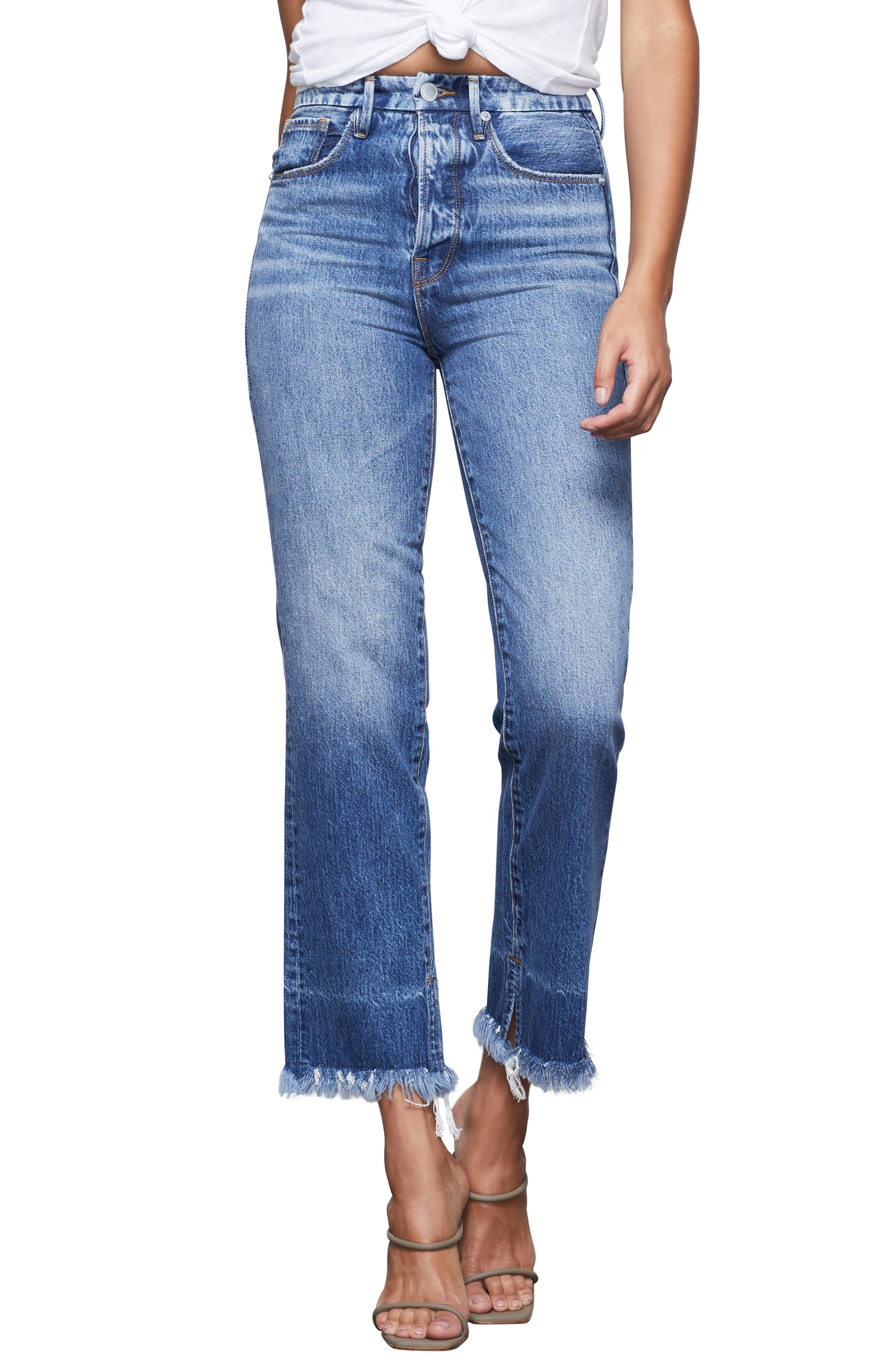 Good American Good Boy Frayed Hem Boyfriend Jeans (Blue 359) (Regular & Plus Size)