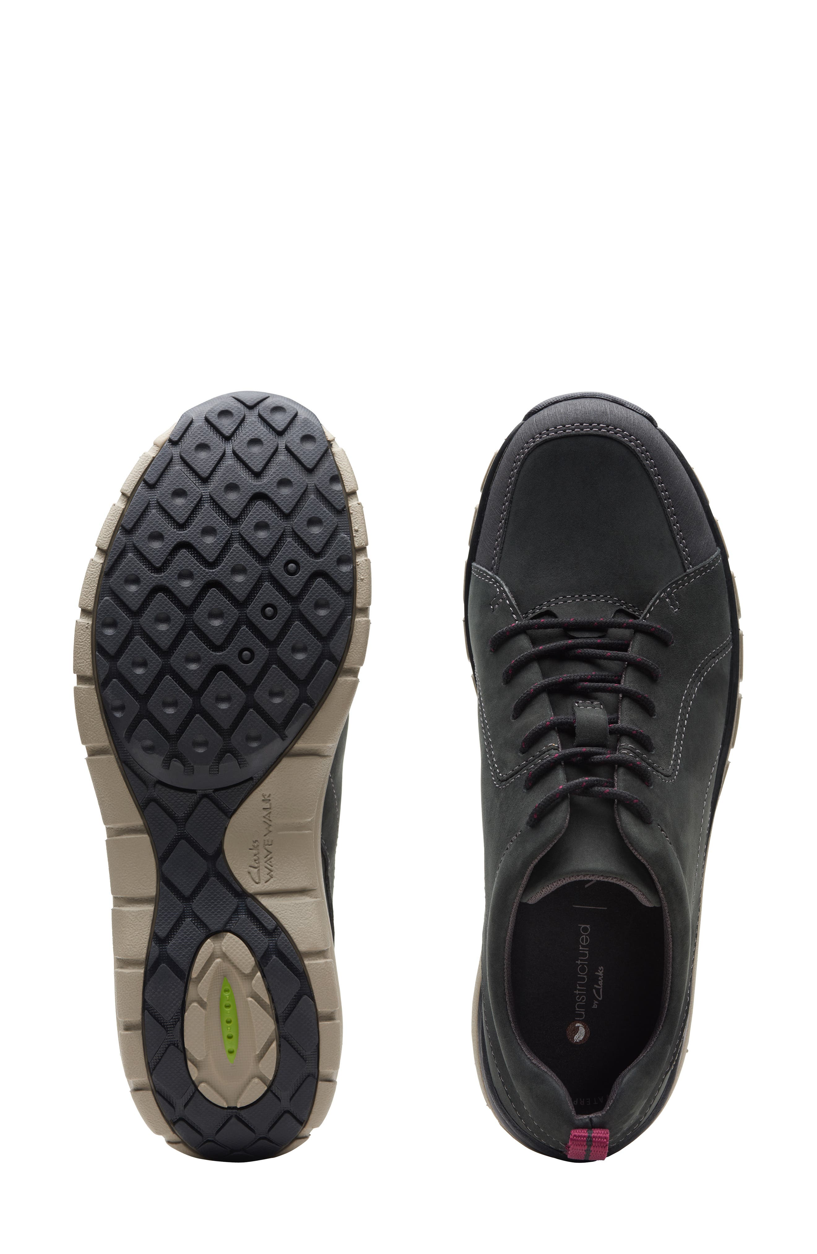 ,                             Wave Go Waterproof Sneaker,                             Alternate thumbnail 5, color,                             BLACK NUBUCK/ LEATHER COMBI