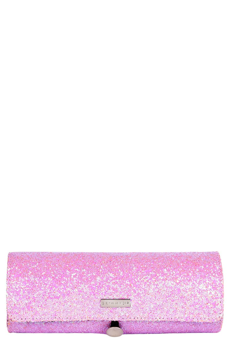 SKINNYDIP Pink Glitsy Brush Roll, Main, color, NO COLOR