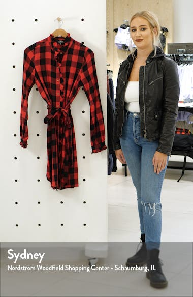 Mackenzie Buffalo Plaid Long Sleeve Cotton Blend Shirtdress, sales video thumbnail