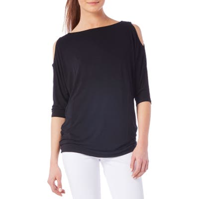 Petite Michael Stars Cold Shoulder Tee, Size One Size - Black
