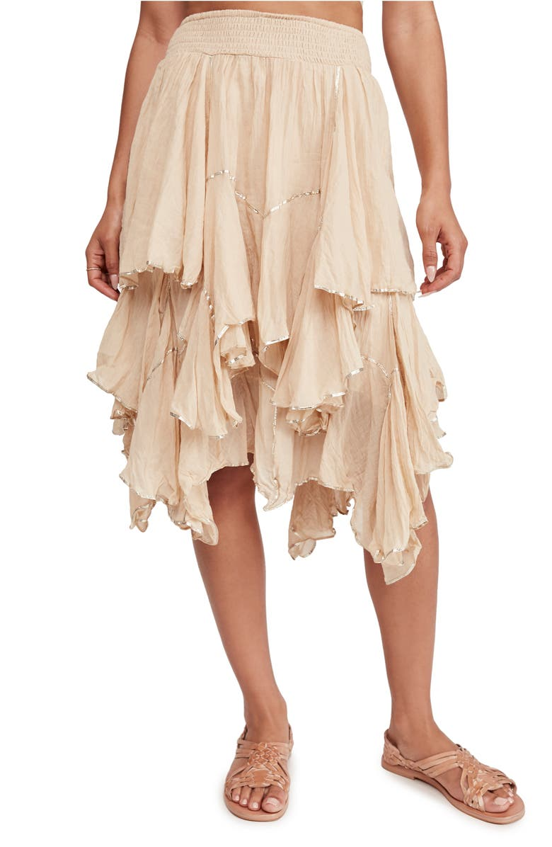 FREE PEOPLE Handkerchief Ruffle Skirt, Main, color, CREAM