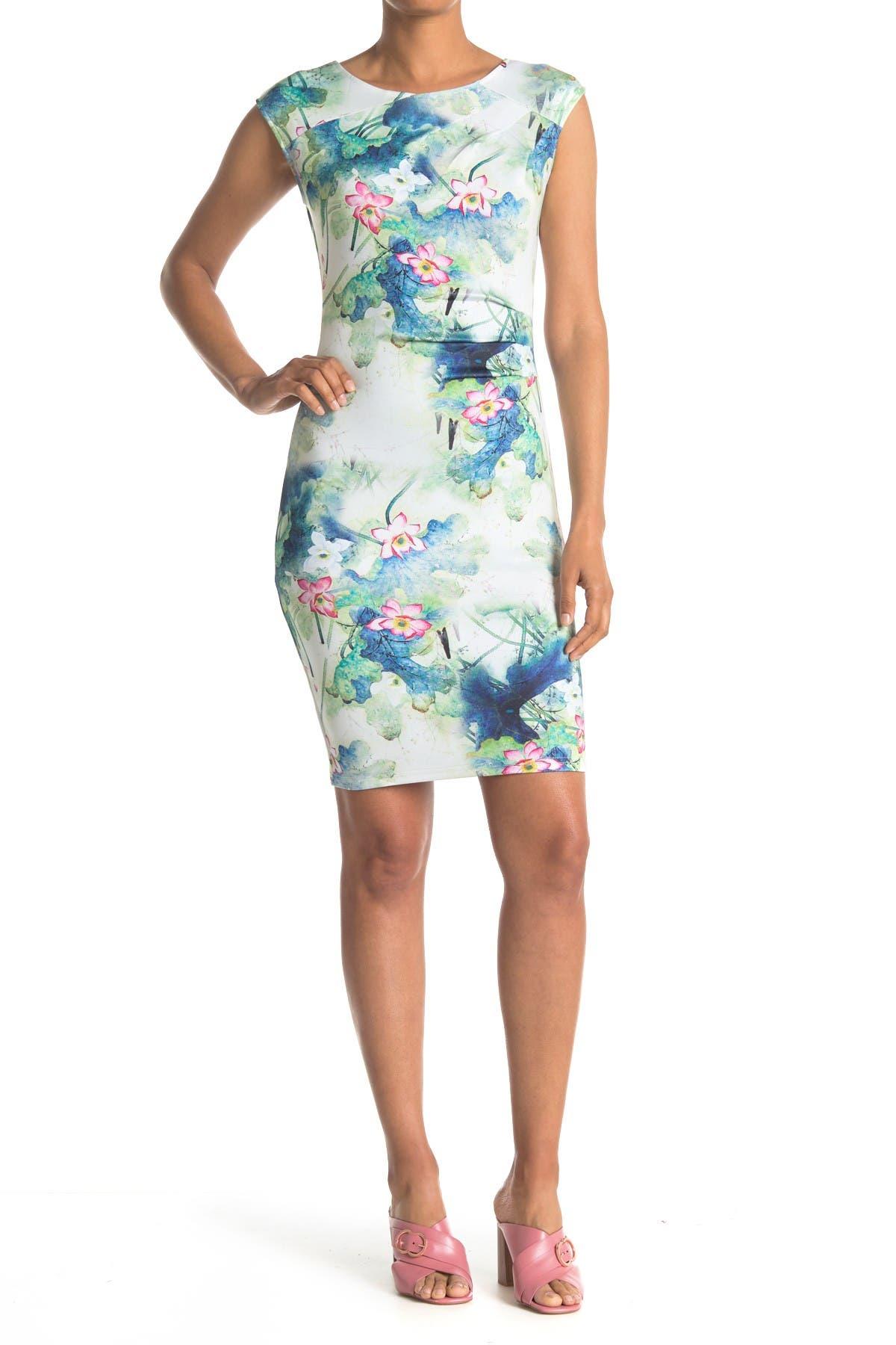 Image of Papillon Watercolor Floral Sheath Dress