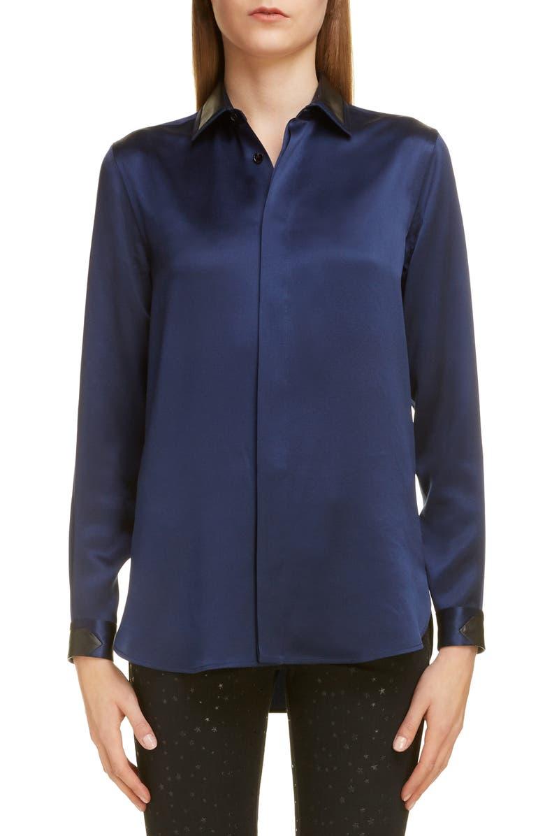 SAINT LAURENT Leather Collar Silk Shirt, Main, color, 400