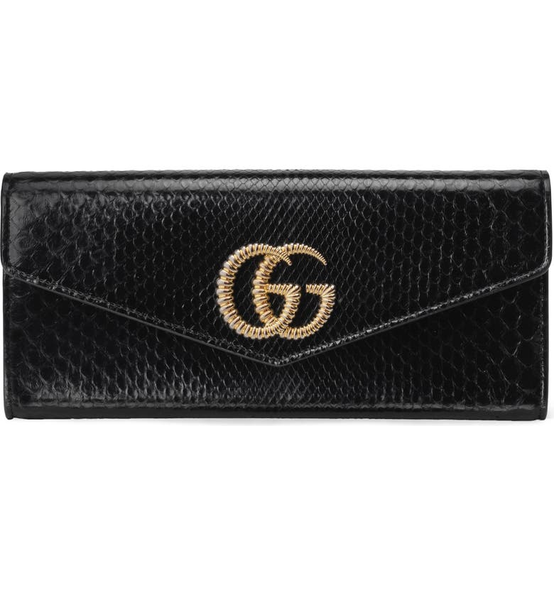 GUCCI Broadway Genuine Snakeskin Evening Clutch, Main, color, NERO