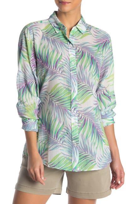 Image of Tommy Bahama Leinani Leaves Gauze Long Sleeve Shirt