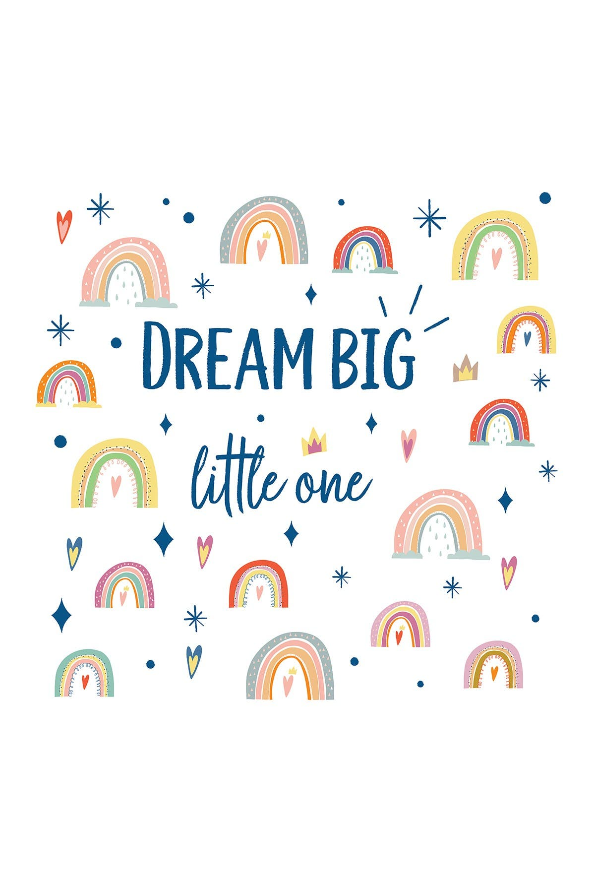 Image of WalPlus Colorful Rainbows Dream Big Little One Wall Decor