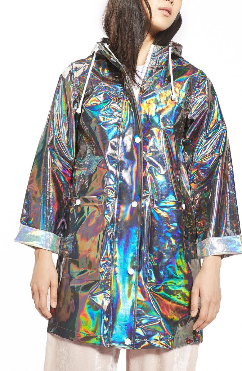 TOPSHOP Iridescent Rain Jacket, Main, color, 040