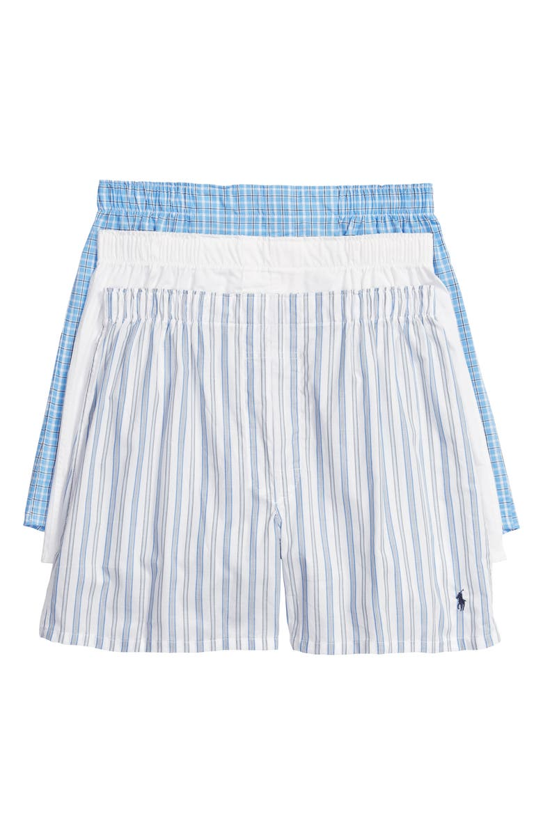 POLO RALPH LAUREN 3-Pack Cotton Boxers, Main, color, WHITE/JARV