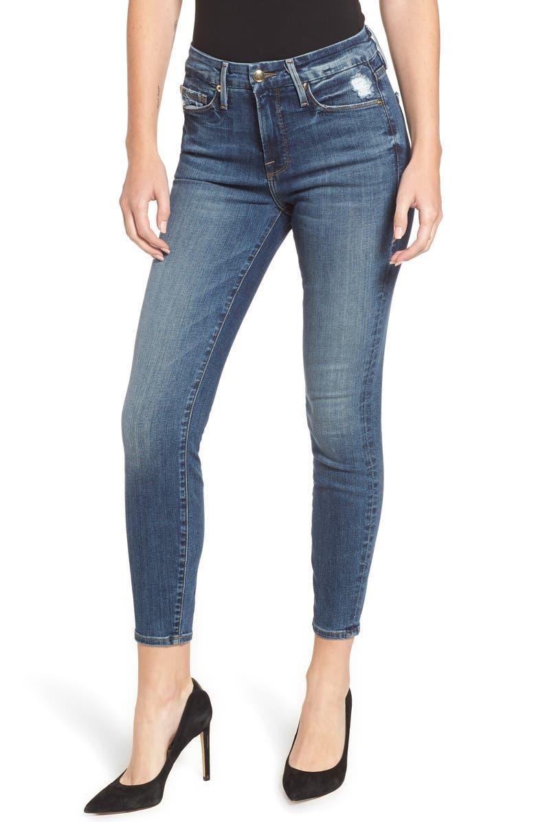GOOD AMERICAN Good Legs Ripped Crop Skinny Jeans, Main, color, 401