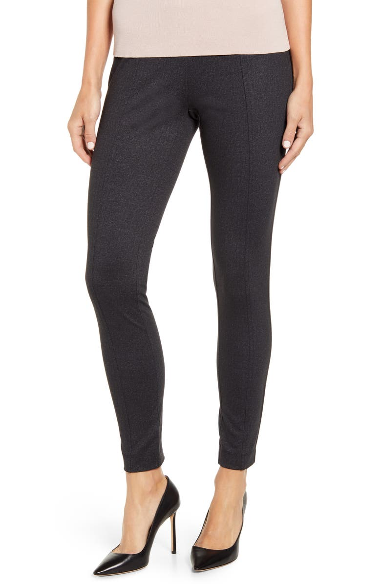 ANNE KLEIN Twill Leggings, Main, color, ZINC/ ANNE BLACK