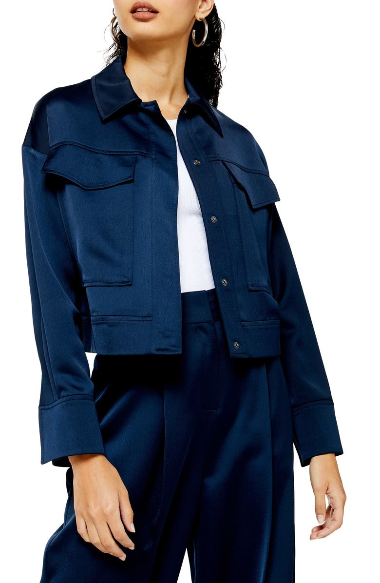 TOPSHOP Cropped Satin Utility Jacket, Main, color, NAVY BLUE
