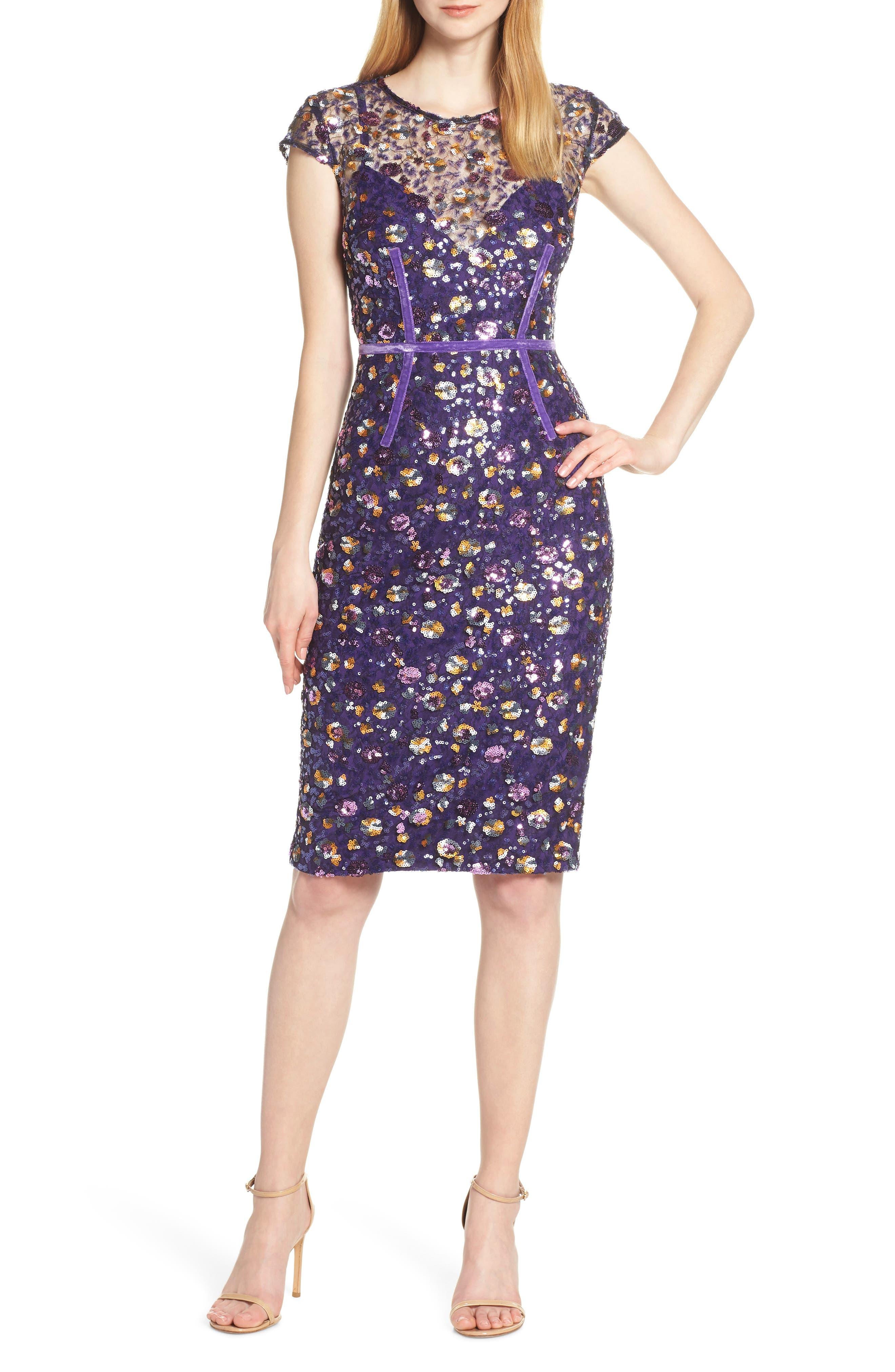 Bronx And Banco Barbara Sequin & Ribbon Detail Cocktail Dress, Purple