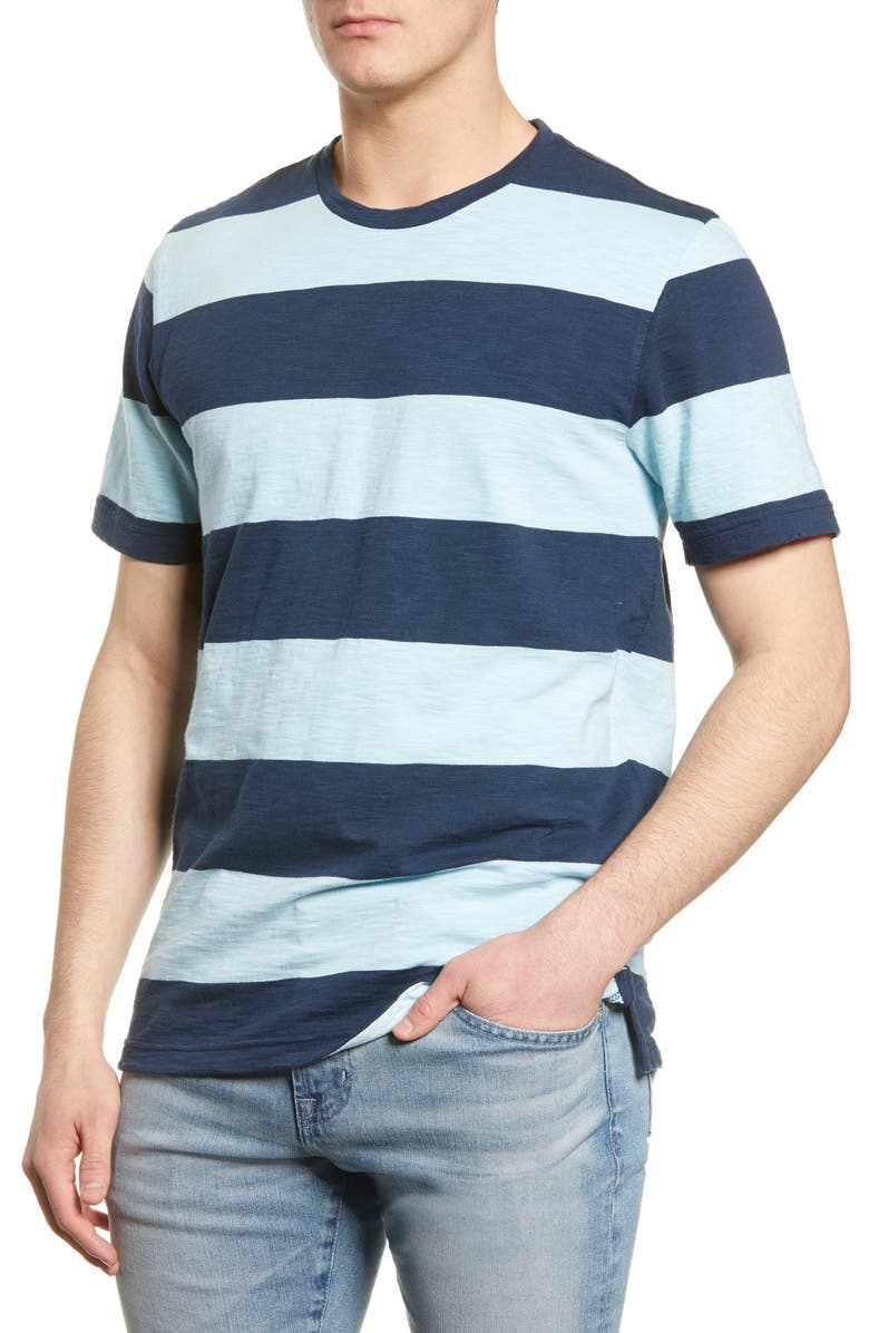 1901 Rugby Stripe Crewneck T-Shirt, Main, color, NAVY BLUE RUGBEE STRIPE