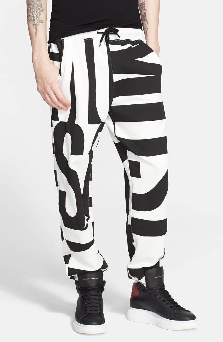 MOSCHINO Allover Print Sweatpants, Main, color, 100