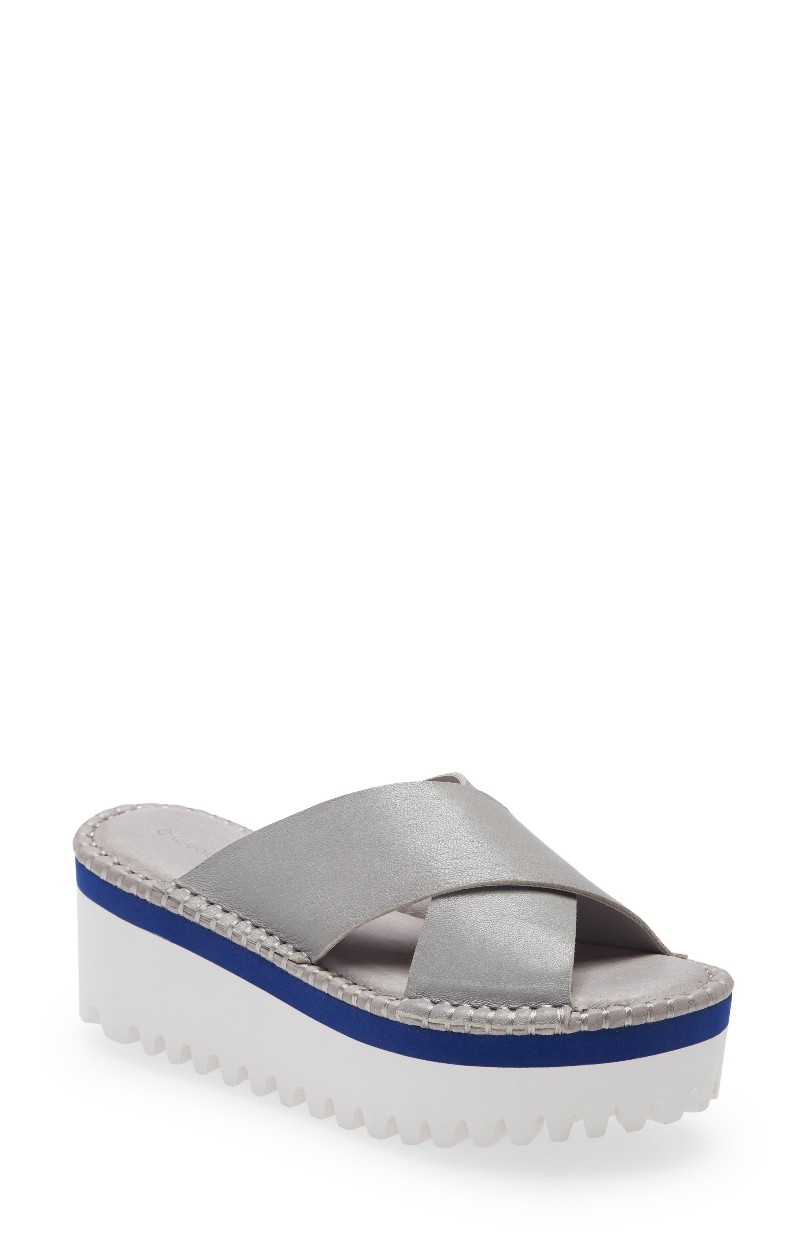 Women's Chocolate Blu Madison Lug Sole Platform Slide Sandal