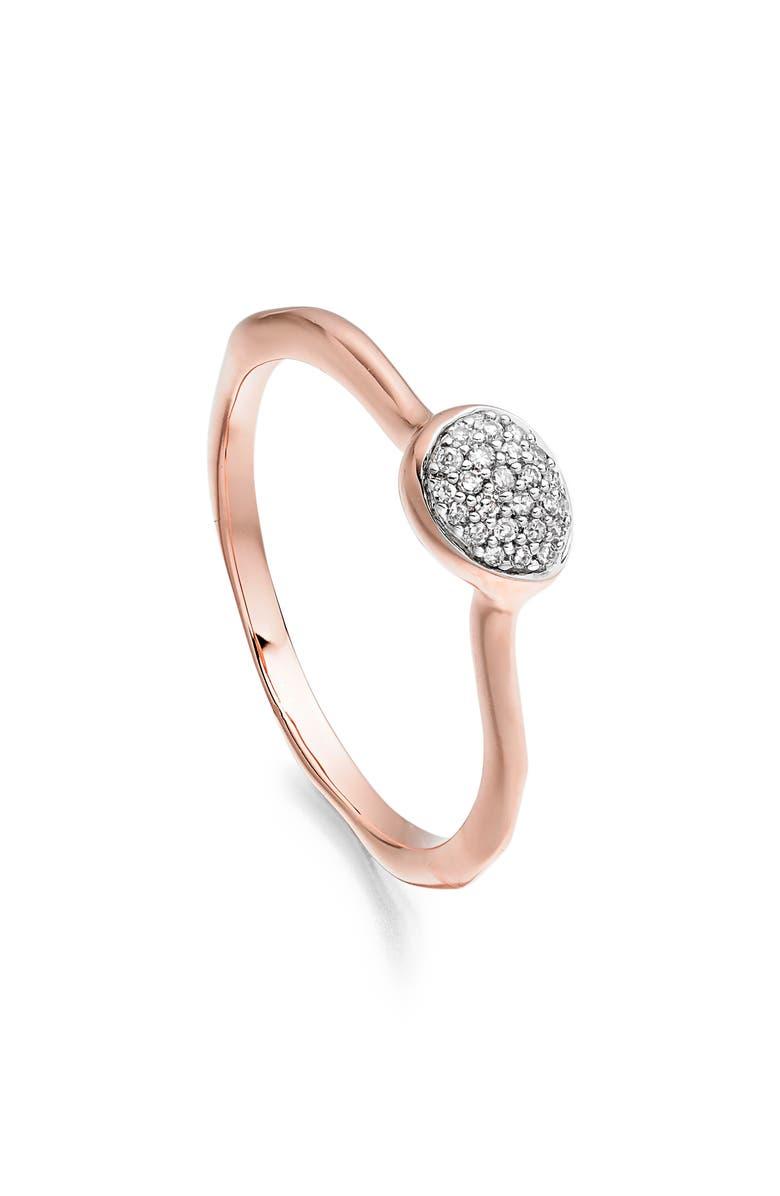 MONICA VINADER Siren Small Pavé Diamond Stacking Ring, Main, color, ROSE GOLD/ DIAMOND