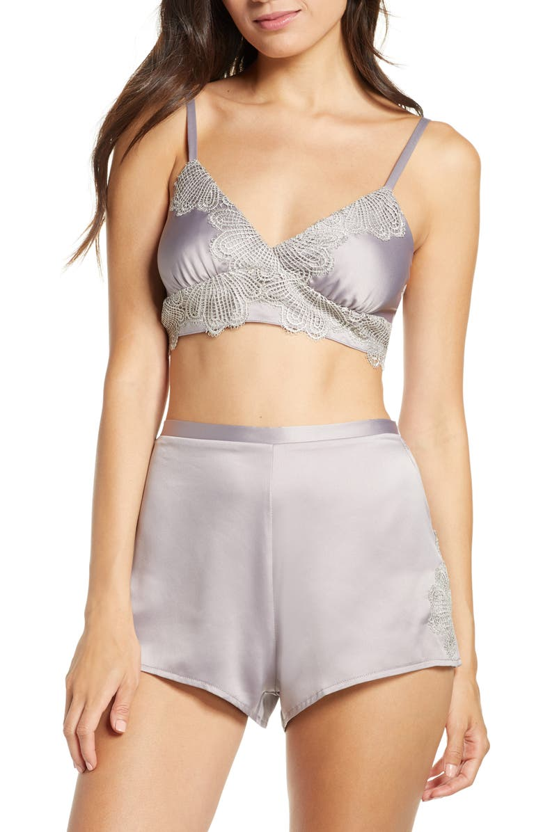 RYA COLLECTION Artisan Bralette & Shorts Set, Main, color, DOVE