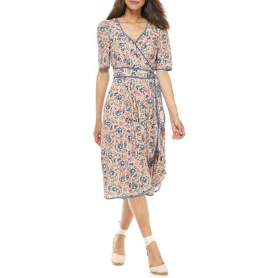Gal Meets Glam Collection Isadora Floral Print Wrap Midi Dress, Pink