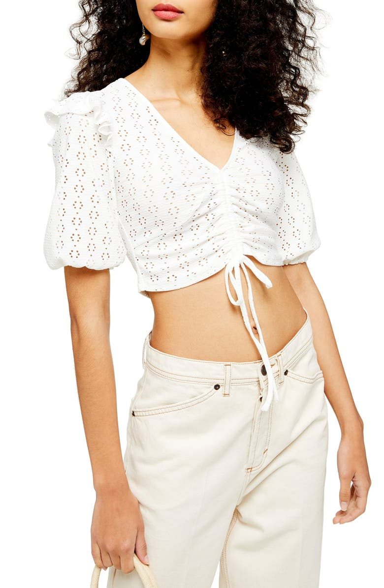 TOPSHOP Pointelle Ruched Crop Top, Main, color, CREAM