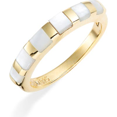Argento Vivo Mother-Of-Pearl Block Stackable Ring