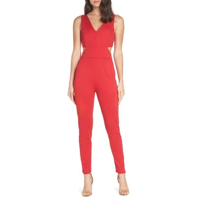 Fraiche By J Cutout Jumpsuit, Red
