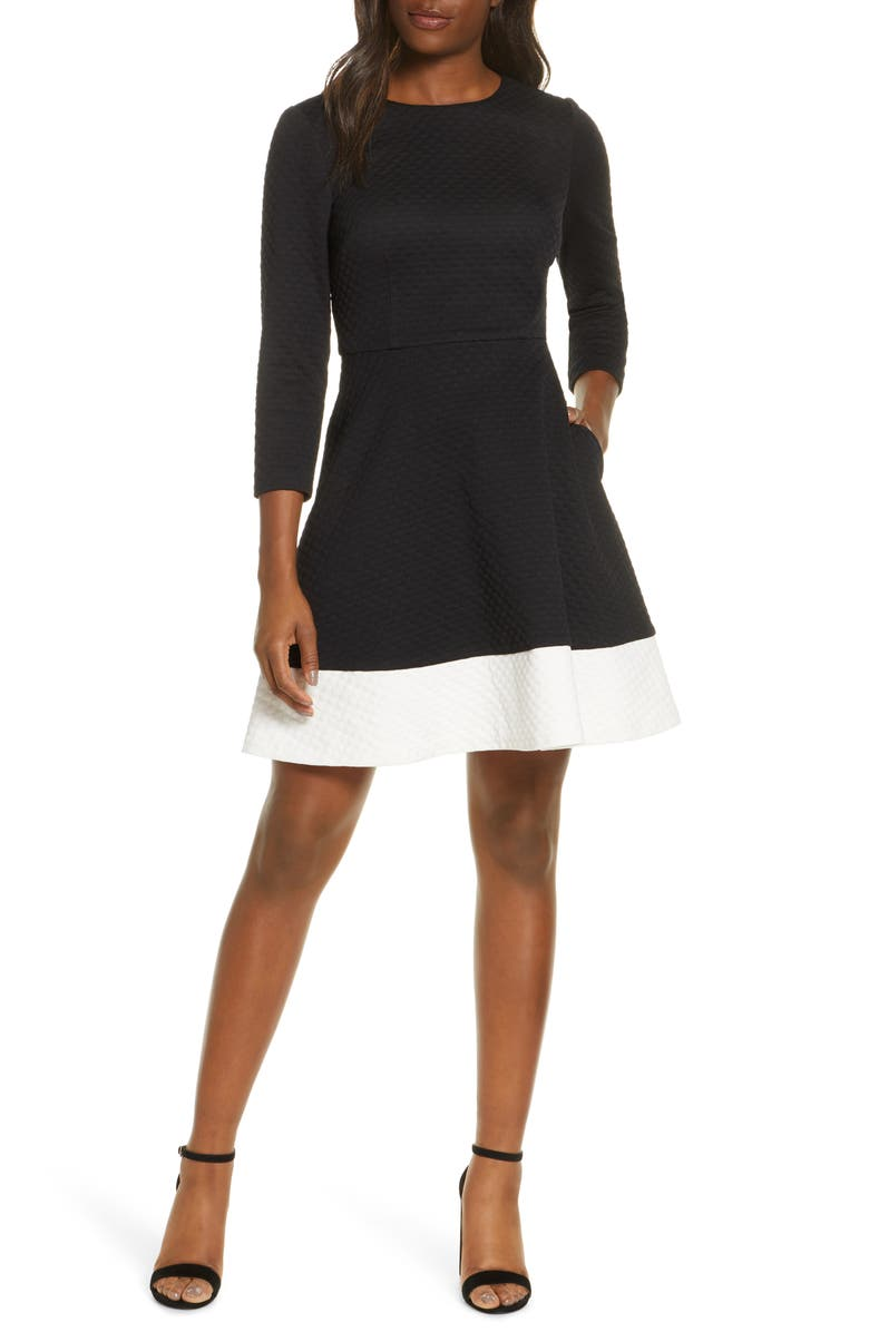 ELIZA J Textured Fit & Flare Dress, Main, color, 001