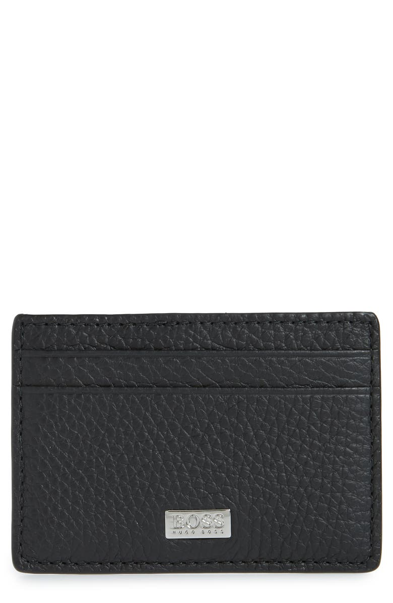 BOSS Crosstown Leather Money Clip Card Case, Main, color, BLACK