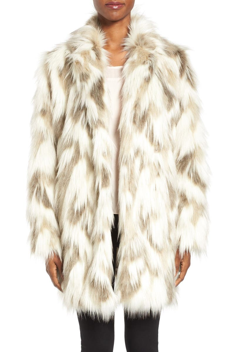 TAHARI Phoebe Multicolor Faux Fur Coat, Main, color, 232