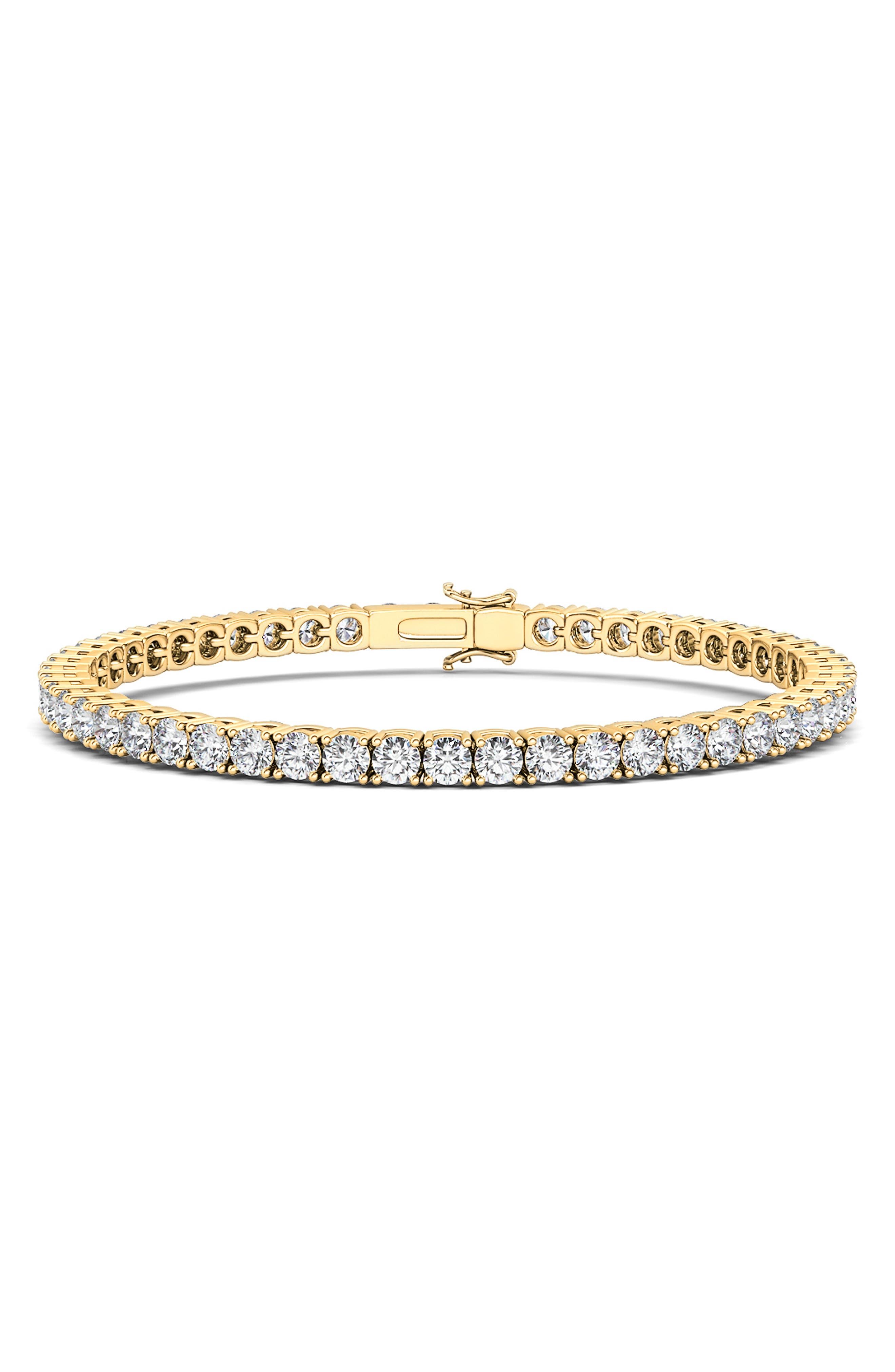 4-Prong 3Ct Lab Created Diamond 14K Gold Tennis Bracelet