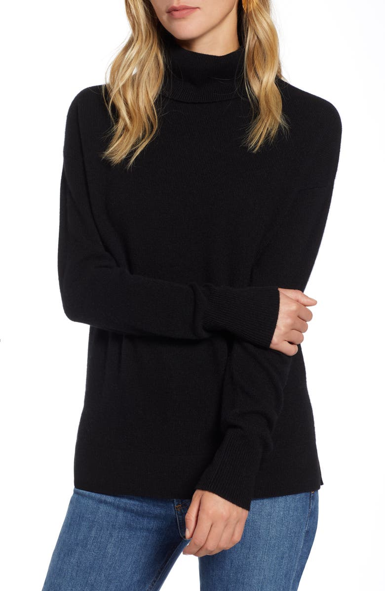 HALOGEN<SUP>®</SUP> Cashmere Turtleneck Sweater, Main, color, BLACK