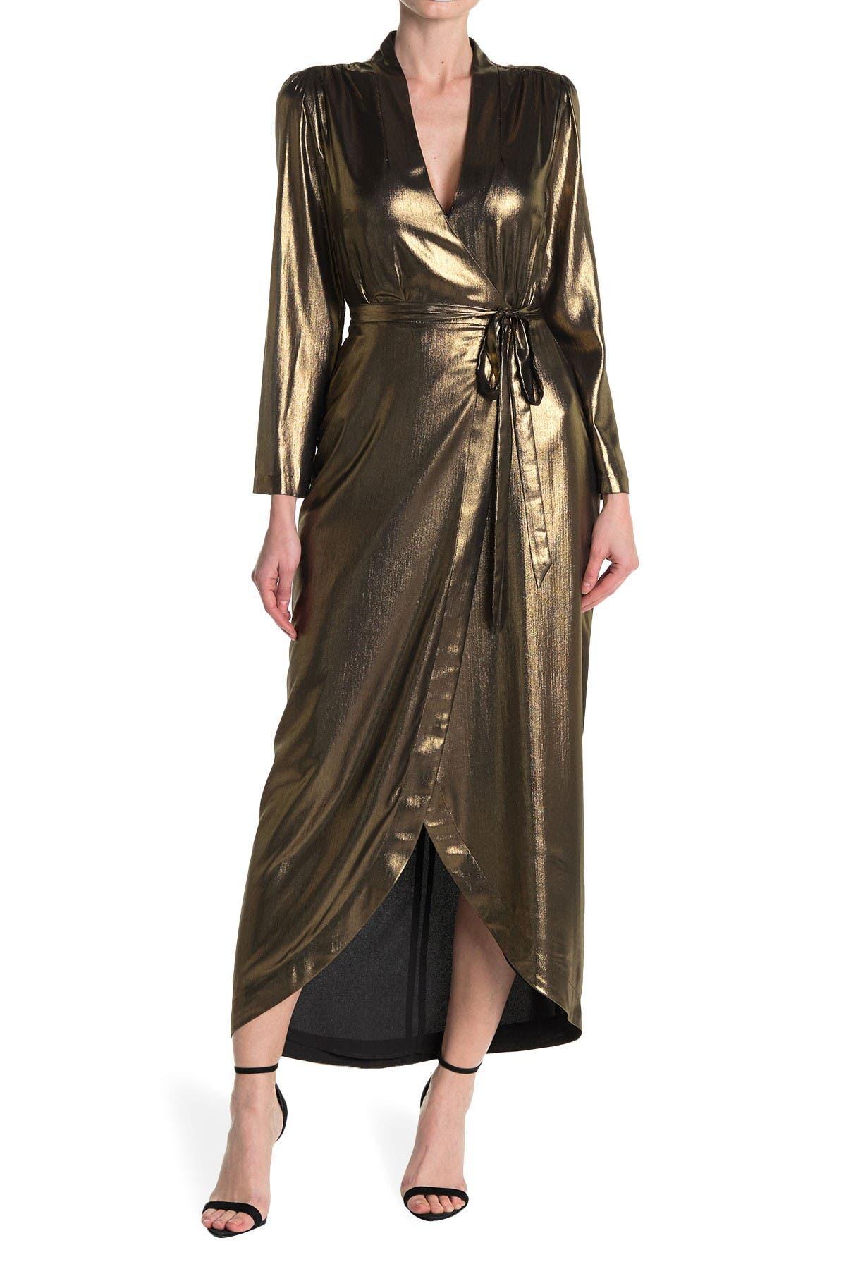 L'AGENCE Reliah Metallic Long Sleeve Wrap Maxi Dress