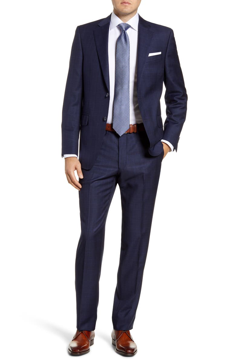 PETER MILLAR Flynn Classic Fit Plaid Wool Suit, Main, color, NAVY
