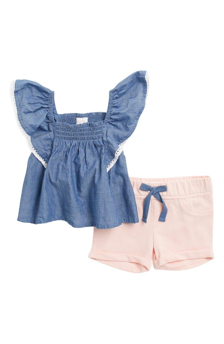 BCBGIRLS Ruffled Smocked Top & Shorts Set, Main, color, CHAMBRAY