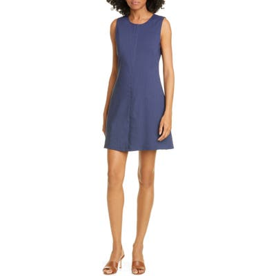 Theory Easy Crew Stretch Linen Blend Shift Dress, Blue