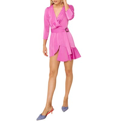 The East Order Tilly Faux Wrap Minidress, Pink