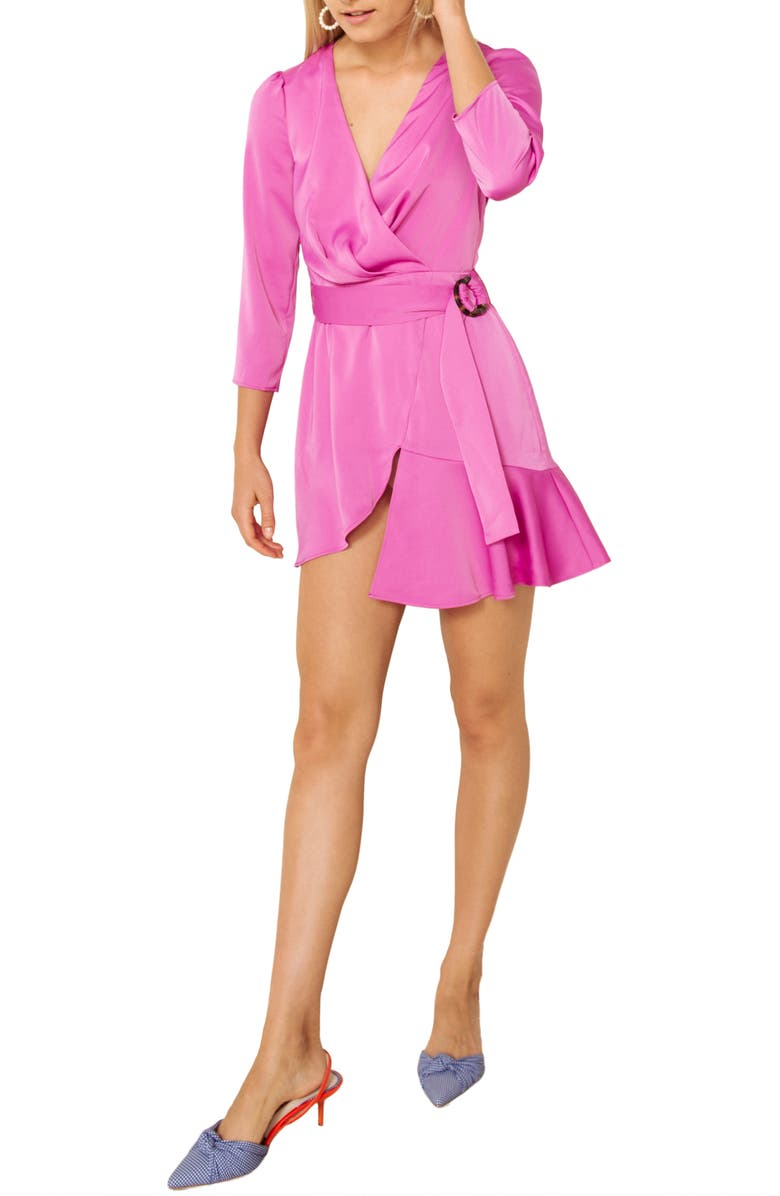 THE EAST ORDER Tilly Faux Wrap Minidress, Main, color, 650