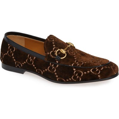 Gucci Jordaan Gg Velvet Loafer, Brown