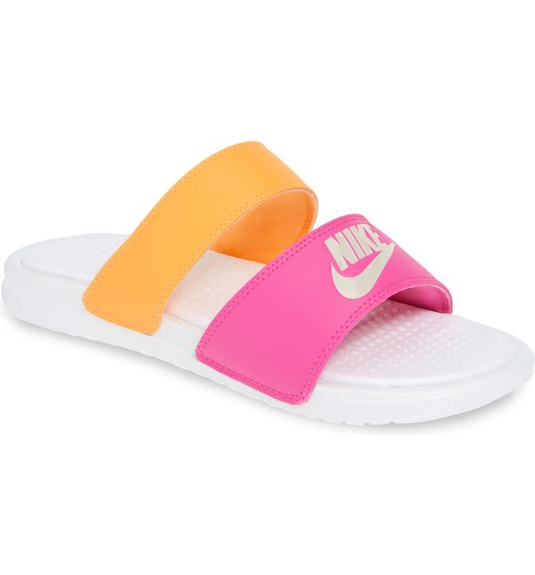NIKE 'Benassi - Ultra' Slide Sandal, Main, color, WHITE/ METALLIC WHITE/ ORANGE