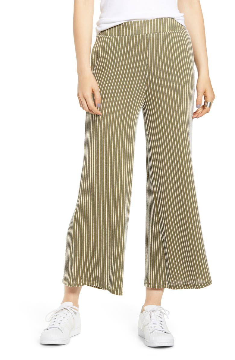 SOCIALITE Stripe Knit Wide Leg Crop Pants, Main, color, OLIVE STRIPE