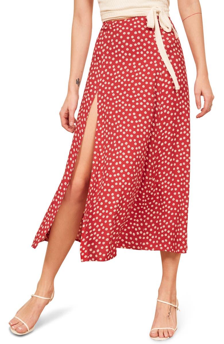 REFORMATION Zoe Side Slit Midi Skirt, Main, color, FLORETTE