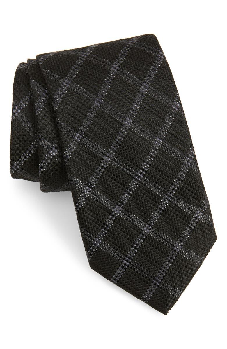 CALIBRATE Fetter Plaid Silk Tie, Main, color, BLACK