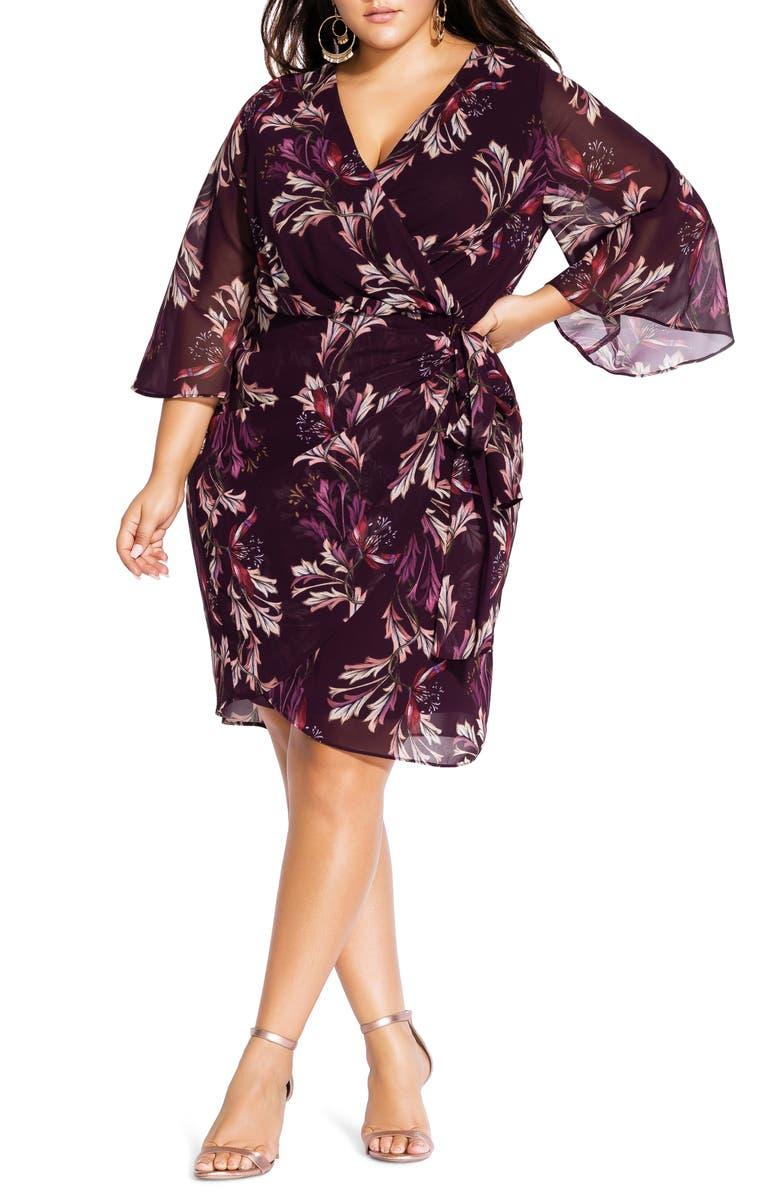 CITY CHIC Floral Faux Wrap Dress, Main, color, OPULENT VINE