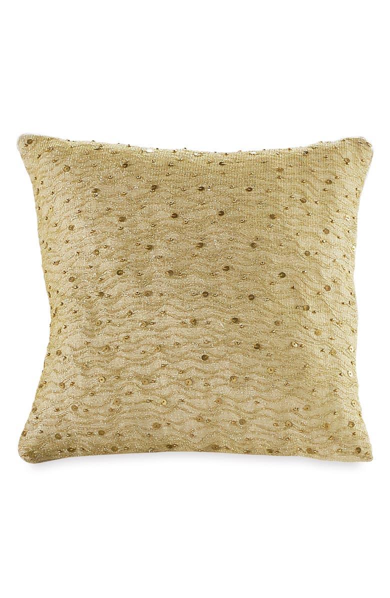 DONNA KARAN NEW YORK Gilded Wavy Thread Accent Pillow, Main, color, GOLD