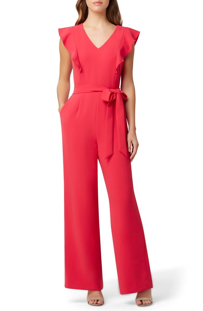 TAHARI Tie Waist Flutter Sleeve Stretch Crepe Jumpsuit, Main, color, RASPBERRY