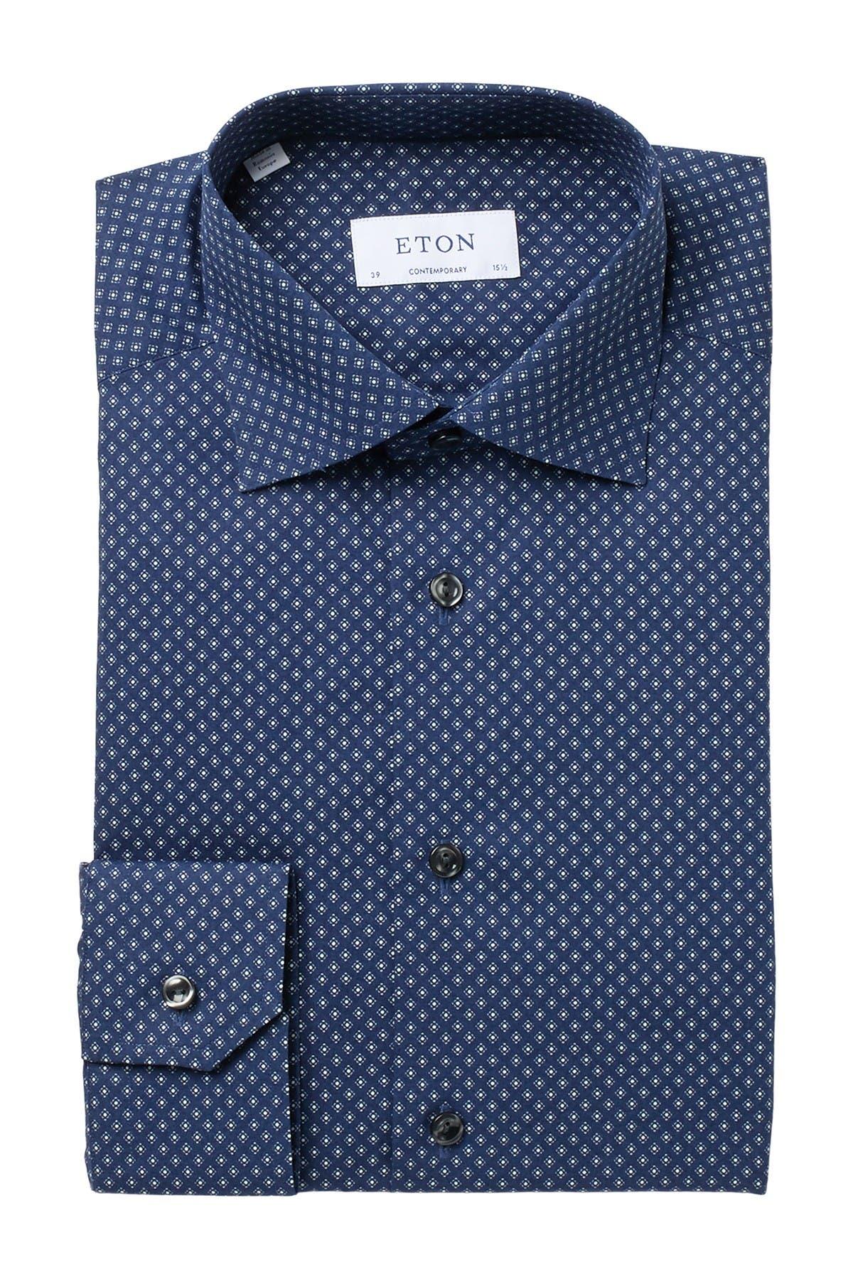 Image of Eton Micro Print Poplin Slim Fit Dress Shirt