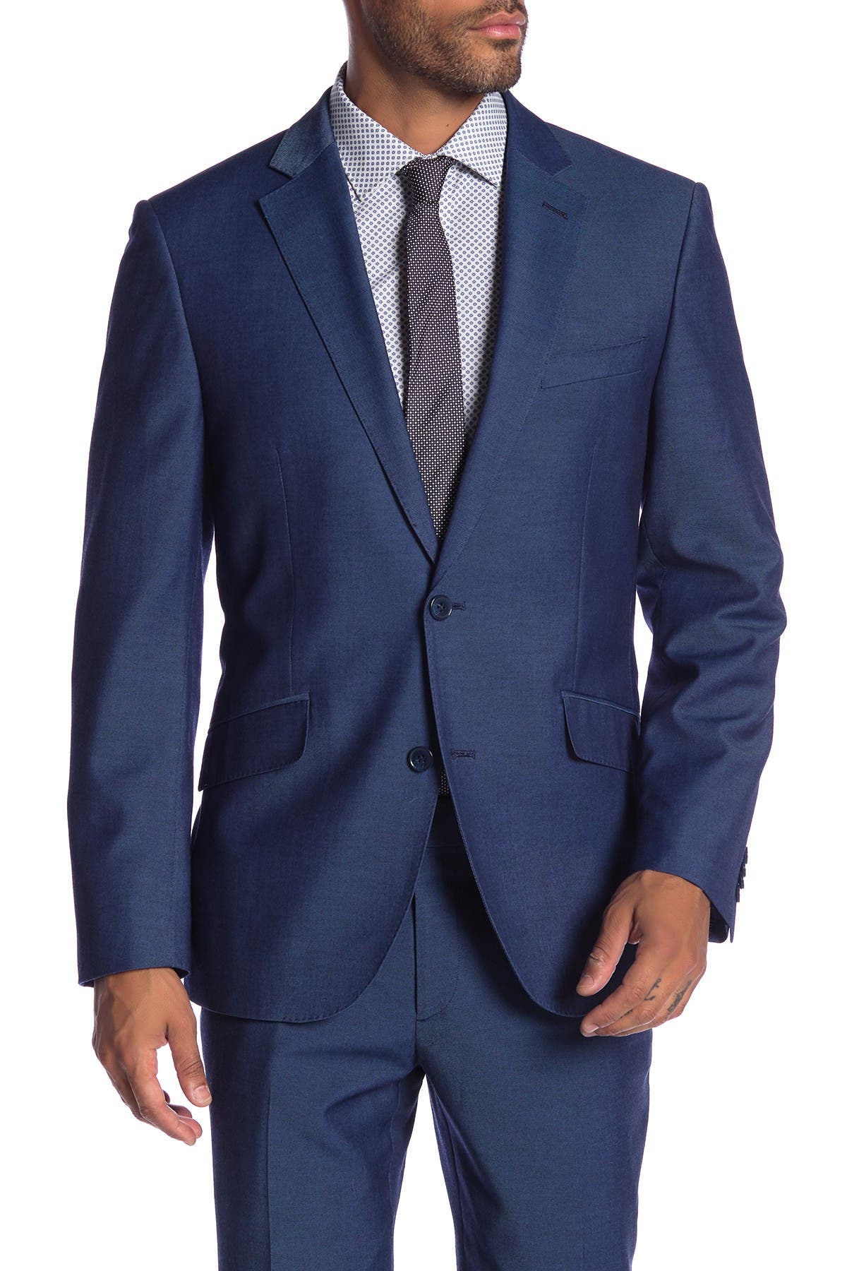 Image of SAVILE ROW CO Mayfair Blue Two Button Notch Lapel Modern Fit Gab Suit Separate Jacket