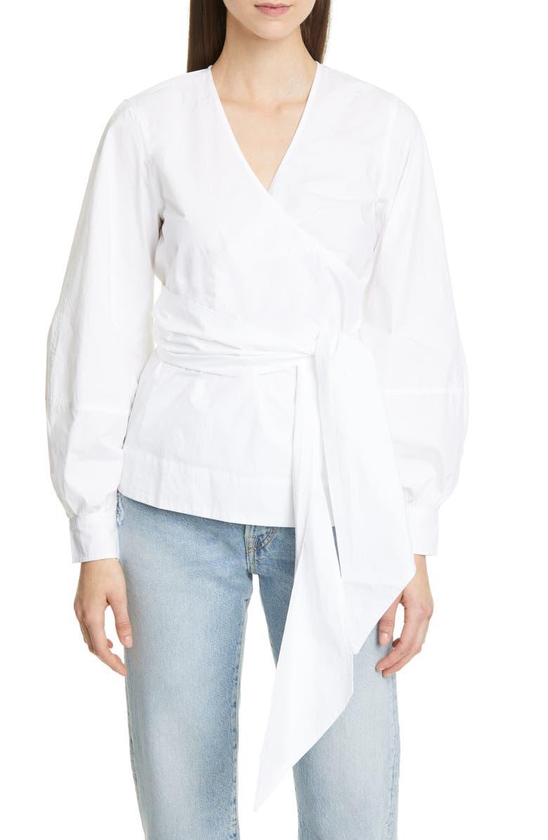 GANNI Cotton Poplin Wrap Top, Main, color, BRIGHT WHITE