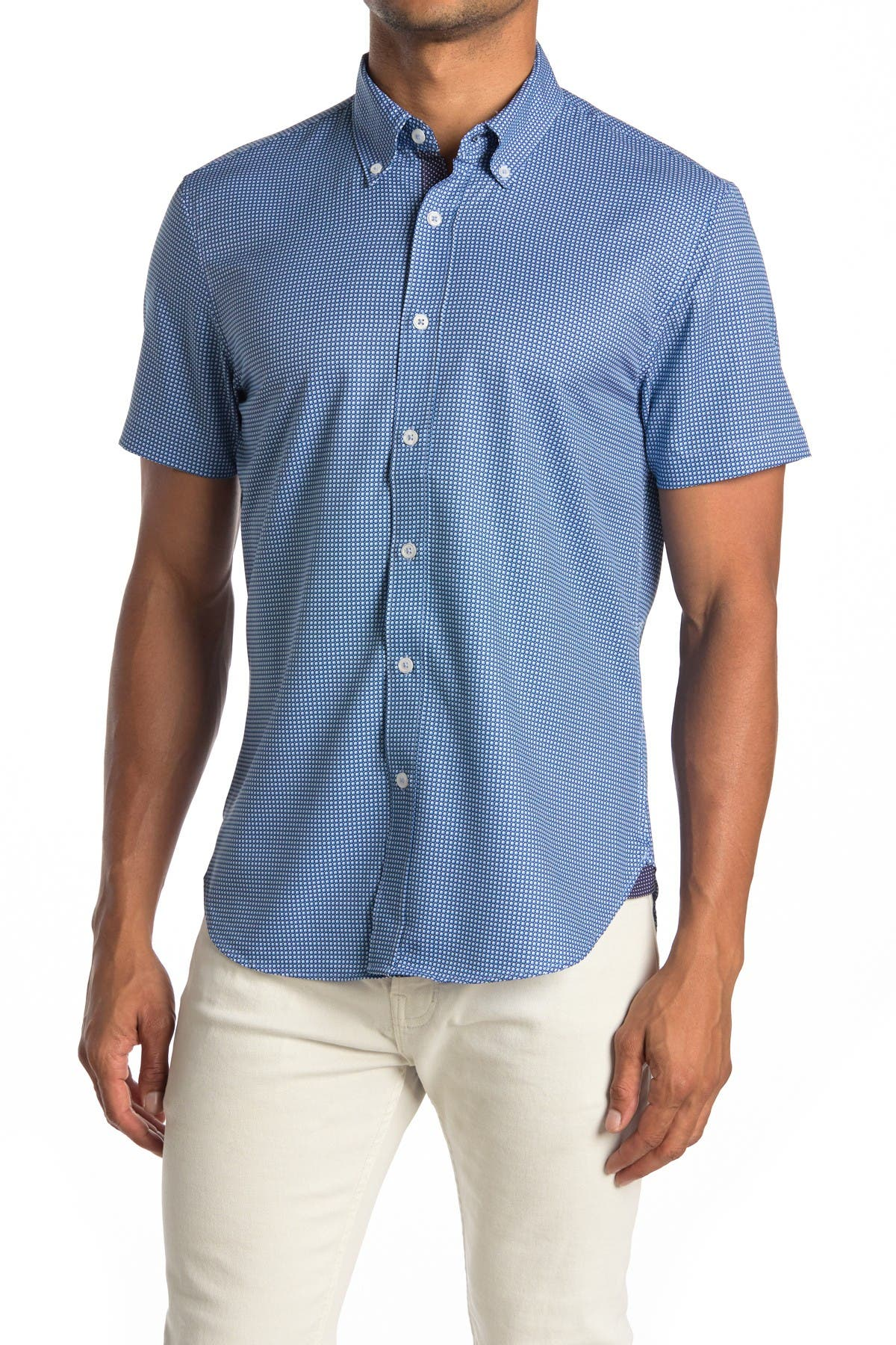 Image of CONSTRUCT Geo Print Short Sleeve Slim Fit Four-Way Stretch Shirt