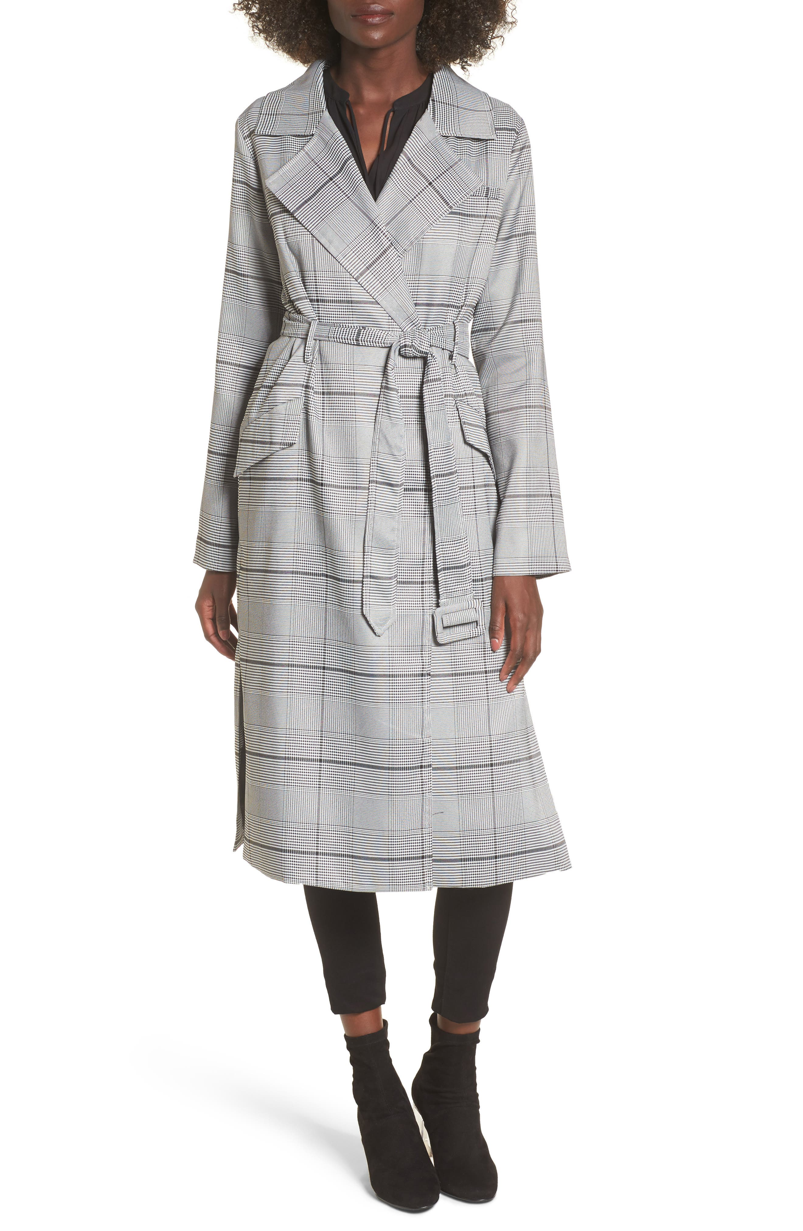 Image of J.O.A. Plaid Tie Waist Trench Coat